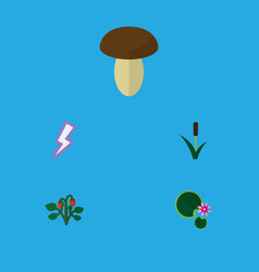 Flat icon bio set of cattail lotus lightning and vector