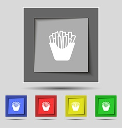 Fry icon sign on original five colored buttons vector
