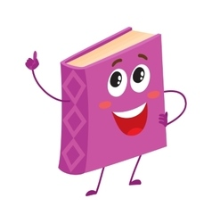 Funny purple book character pointing up with index vector image