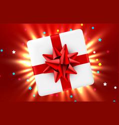 gift box and magic light fireworks christmas vector image