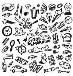 Good morning doodles vector image
