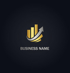 Graph business arrow up gold logo vector