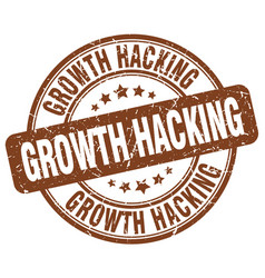 Growth hacking brown grunge stamp vector