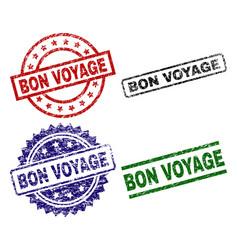 Grunge textured bon voyage seal stamps vector