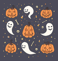 halloween set with orange pumpkins ghosts skull vector image