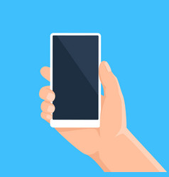 hand with phone man holding smartphone with blank vector image
