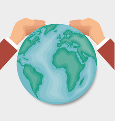 hands around of the world design vector image