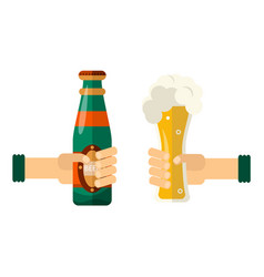 hands with beer bottle glass toasting vector image