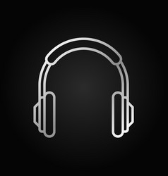 headphones outline silver icon headphone vector image
