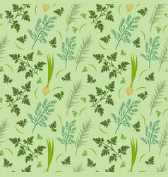 herbs seamless pattern parsley dill razmarin vector image