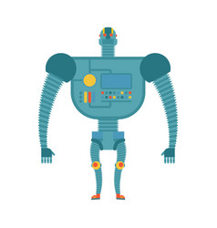 humanoid robot cyborg isolated electronic iron vector image