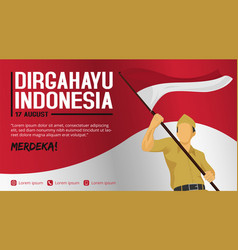 Indonesia independence day banner template vector