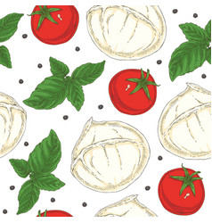 italian food seamless pattern vector image