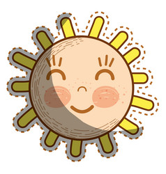 Kawaii happy sun with close eyes and cheeks vector