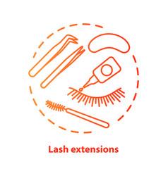 Lash extension blue concept icon false eyelashes vector