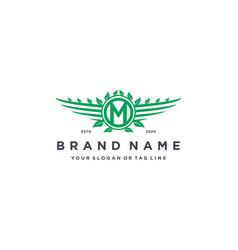 Letter m leaf wing logo design concept vector
