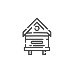 line art icon beehive in apiary for bees vector image