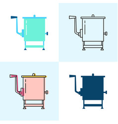 meat mixer icon set in flat and line styles vector image