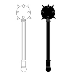 Medieval knight mace Contour silhouette vector image