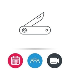 Multitool knife icon Multifunction tool sign vector image