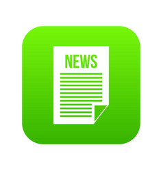 news newspaper icon digital green vector image
