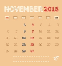 November 2016 monthly calendar template vector image