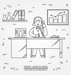 Office woman Business woman Thin line icon for we vector
