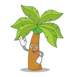 Okay palm tree character cartoon vector