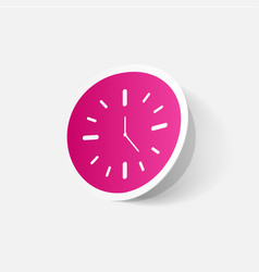 Paper clipped sticker wall clock vector