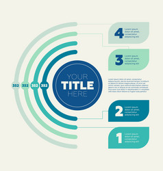 pie chart 4 steps and circle header vector image