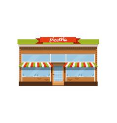 Pizzeria cafe small store shop facade vector
