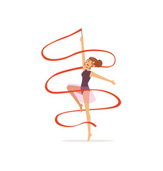 Professional gymnast girl dance with red ribbon vector
