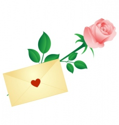 rose and love letter vector image