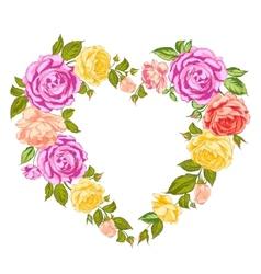 Roses heart frame vector