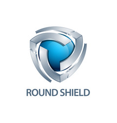 Round shield logo concept design three vector