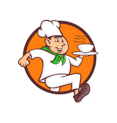 running chef serving fast food mascot vector image