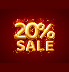 sale 20 off ballon number on red background vector image