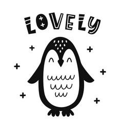 scandinavian childish poster with penguin vector image