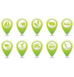 Set of 10 sport GREEN map pointer vector image