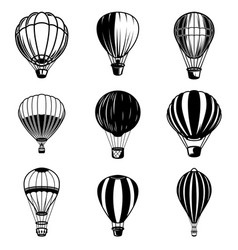 Set of air balloon design element for logo label vector