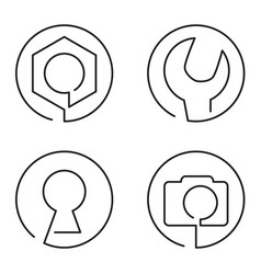 set of continuous line logo on white background vector image