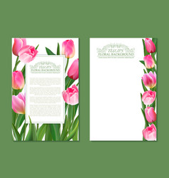 set vertical banner with pink tulip vector image