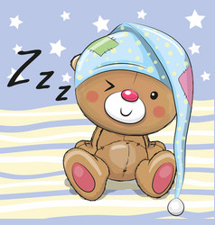 Sleeping cute teddy bear vector