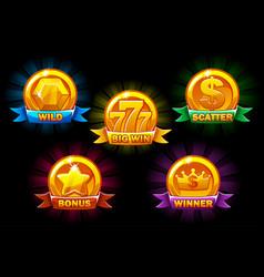 Slots icons golden collections wild bonus vector