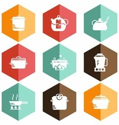 Solid icons kitchen appliances vector