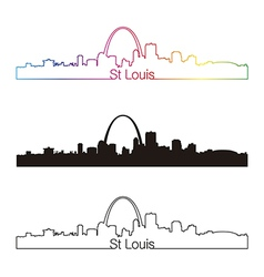 St louis skyline linear style with rainbow vector