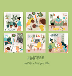 Stay at home people stay in cozy house vector