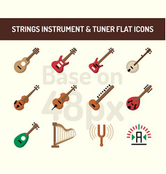 string instrument icon set flat icons base on 48 vector image
