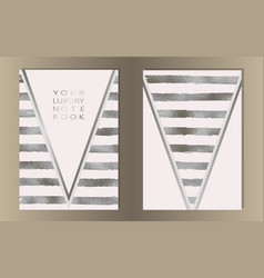 Stripe silver foil cover set vector