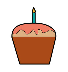 Sweet and delicious cupcake with candle vector